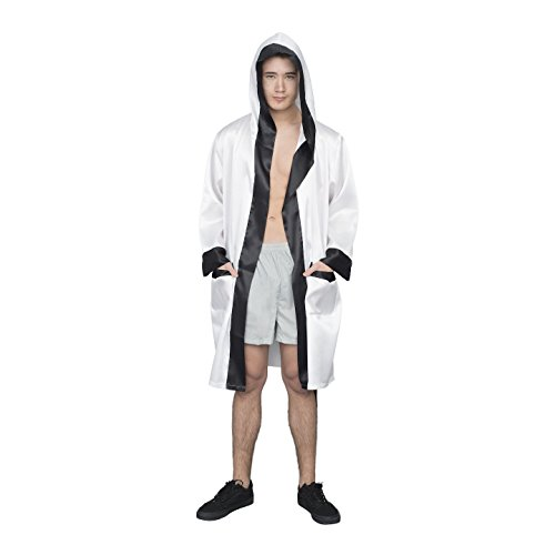 Adult Halloween Costume Boxing Robe with Hood (White) -