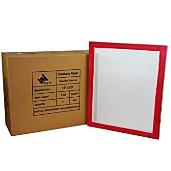 Image of 18 x 20 Inch Pre-Stretched Aluminum Silk Screen Printing Frames with 110 White Mesh (6 Pack Screens) Accessories