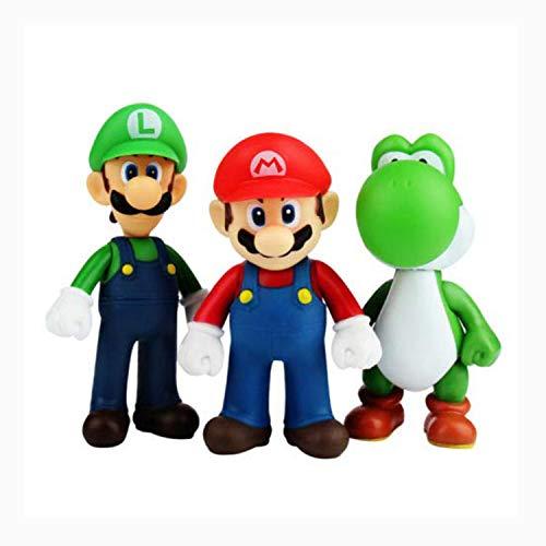 (Set of 3 Pcs Super Mario Bros Luigi, Mario, Yoshi Action Figures Toy, 4.7'')