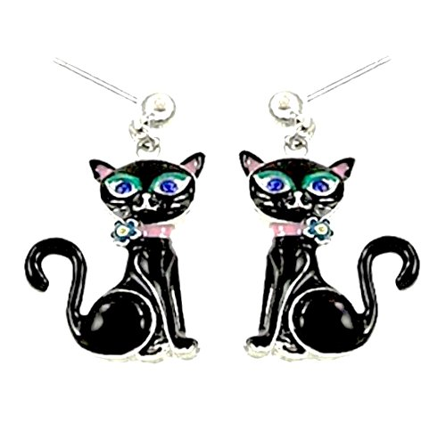 (DianaL Boutique Black Kitty Cat Earrings Post Enameled Gift Boxed Fashion Jewelry for Girls and Women)