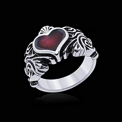(Wausa Mens Stainless Steel Silver Black Fashion Gothic Punk Biker Finger Ring Jewelry | Model RNG - 10303 | 9)