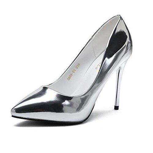 Damenschuhe Lackleder Kleid Heels YIXINY UK6 High größe 10cm Arbeitsschuhe Pumps Mode Farbe CN39 EU39 Silber Stilett Ferse w8XwqItRx