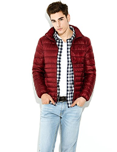 Packable Quilted Short Coat Wine Red weight Jacket Puffer Men's Yeokou Down B5qtg