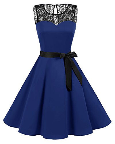 Bbonlinedress Women's Vintage 1950s Floral Lace Cocktail Swing Party Dress With Belt Royal Blue S