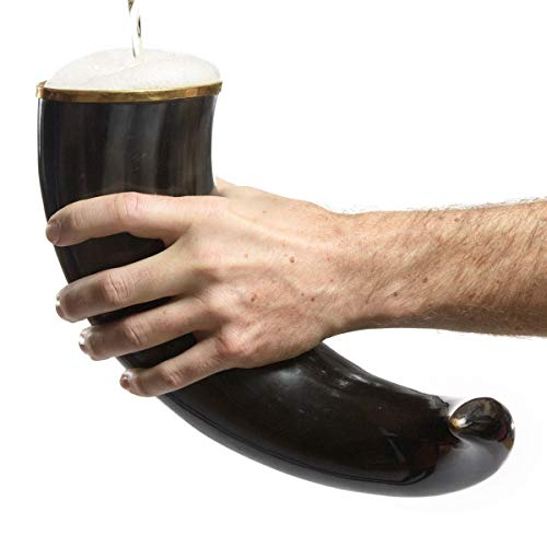 AleHorn Original Handcrafted Authentic Viking Drinking Horn 20 inches Polished for Beer, Mead, Ale Medieval Inspired Food Safe Vessel Curved Style with Stand