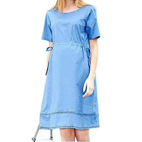 Maternità di Benda Vestito Manica Corta Midi Casual Girocollo Zengbang Incinta Abito Blu wv8pFqn