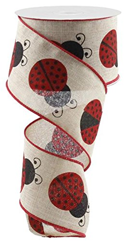- Lady Bug Canvas Wire Edged Ribbon - 2.5 Inches x 10 Yards (Natural)