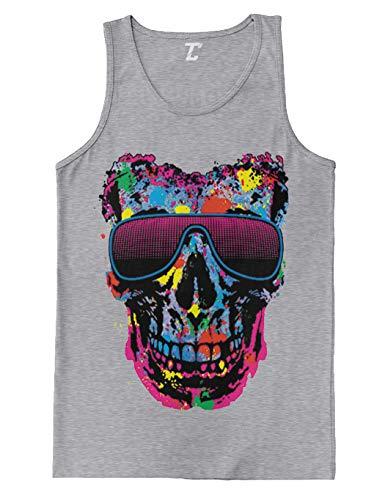 Neon Glasses Skull - EDM Festival Men's Tank Top (Light Gray, -