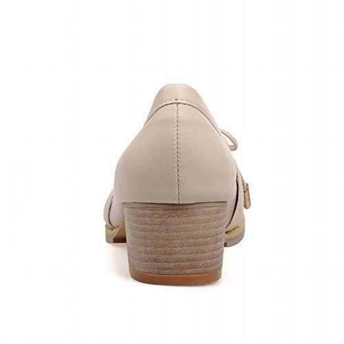 Latasa Confort Des Femmes Mi Chunky Talon Slip Sur Mocassins Chaussures Beige