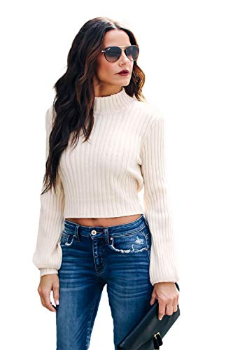L'ASHER Women's Fashion Bacless Turtle Neck Slim Fit Back Belt Tie Up Waist Tie Up High Neck Sexy Sweater Pullover T Shirts Long Sleeve White