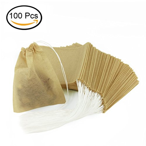 100 Pcs Tea Filter Bags, Disposable Empty Tea Infuser Bag with Drawstring Safe & Natural Material for Loose Leaf Tea and Coffee 2.36 x 3.15 inch - Give 2Pcs Tea bag holders (Initial)
