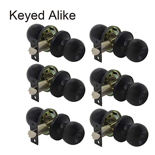 (Probrico Flat Black Keyed Entry Door Knobs, Round Ball Keyed Alike Lockset, Door Knobs with Lock and Keys for Bedroom Bathroom Front Door, 6 Pack)