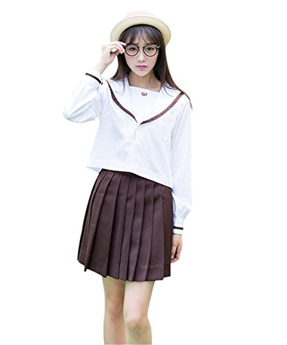 Minlovely Girl's Navy Sailor Suit Cosplay Costume School Students Uniforms BrownMedium