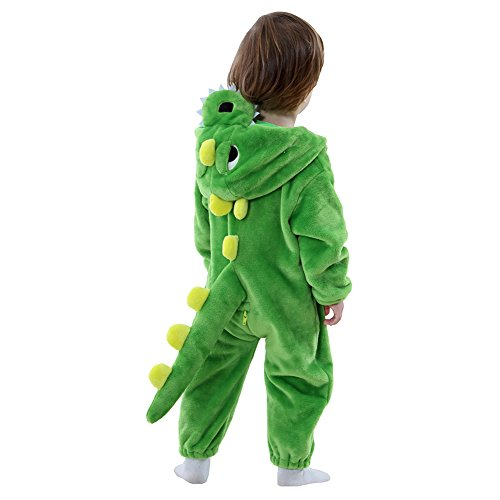 Infant Toddler Dinosaur Romper Costume Fleece Dragon Halloween Birthday Gift (12-18 Months, Green) -