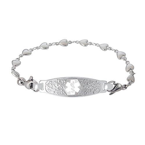 Divoti Deep Custom Laser Engraved Elegant Olive Medical Alert Bracelet -Stainless Heart Link-White-8.0