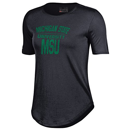 NCAA Michigan State Spartans Women's 60 40 Tee, Black, Small