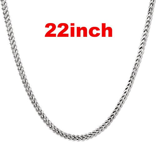 JINGRAYS 3mm Curb Chain Necklace for Men Biker Punk Style, Male Stainless Steel Chain Link, 22 inches -Silver