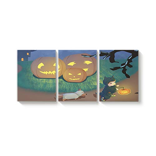 Arts Language 3 Piece Canvas Wall Art Painting for Office Bedroom Living Room Home Decor,Cute Child Holding Pumpkins Trick or Threat Dog Halloween Design Pictures Modern Artworks,16 x 20in x 3 Panels
