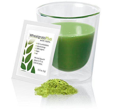Wheatgrass plus; 66 sachets with 100% natural wheat grass powder with Roots, Certified Organic and Raw for Juice and Shots. Great for healthy Smoothies, Detox or Diet. Full of Vitamins and Nutrients. (Wheat Grass Juice Frozen compare prices)