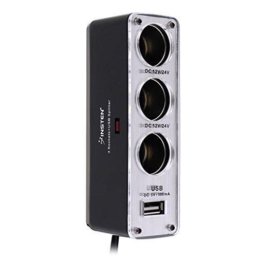 Insten® Three-Way Car Cigarette Lighter Socket Splitter w/ USB Port