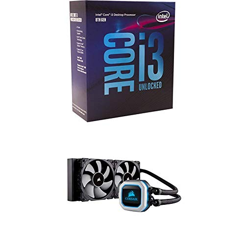 Intel Core i3-8350K Desktop Processor 6 Cores up to 4.0 GHz unlocked and CORSAIR HYDRO SERIES H100i PRO RGB AIO Liquid CPU Cooler, 240mm Radiator, Dual 120mm ML Series PWM Fans