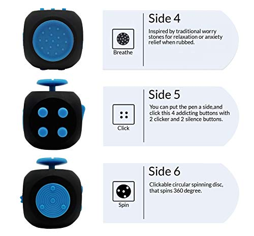 Chuchik Best Fidget Cube Toys. Prime Desk Toy, Reduce Anxiety and Stress Relief for Autism, ADD, ADHD & OCD (Black-Blue) by Chuchik (Image #2)