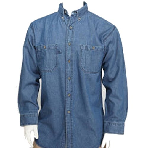 W S Blue Collar Outlet Denim Men's Long Sleeve Ultra Regular Style Button Front Shirt, Gusset Vents, Enzyme Wash - Wash Denim Button
