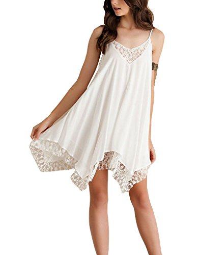 PAKULA Womens Sexy V Neck Spaghetti Strap Lace Embellished Short Beach Dress, White, Large