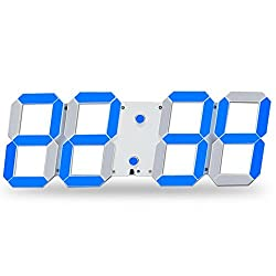 CHkosda Remote Control Jumbo Digital Led Wall Clock, Multifunction Led Clock, Large Calendar, Minute Alarm Clock, Countdown Led Clock, Big Thermometer, Mute Clock (Blue)