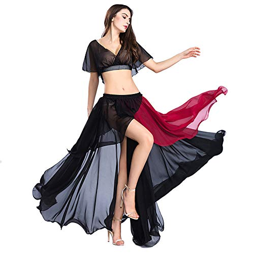ROYAL SMEELA Belly Dance Costume Set for Women, Black Belly Dancing Skirt One Size Belly Dance Dress, 3 Colors (Black, Purple, Pink)]()