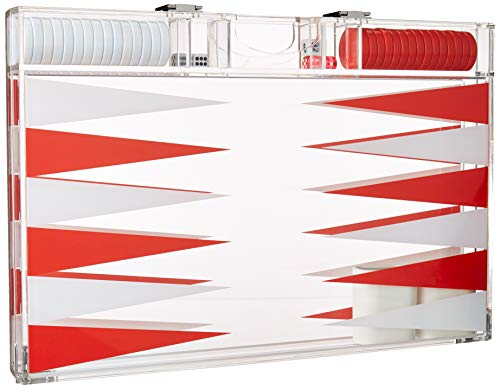 Rolling 66 18-Inch Lucite Deluxe Backgammon Set (Red)