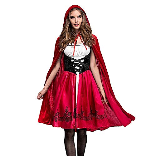 LOKODO Women's Little Red Riding Hood Costume Halloween Costume Cosplay Ball Party Hooded Bandage Shawl Dress Suit Red S