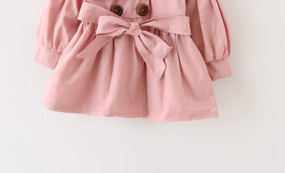 AIKSSOO Kids Baby Girls Trench Coat Toddler Windbreaker Double-Breasted Jacket