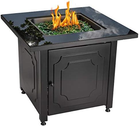 Endless Summer 30 Outdoor Propane Gas Black Glass Top Fire Pit Green Fire Glass