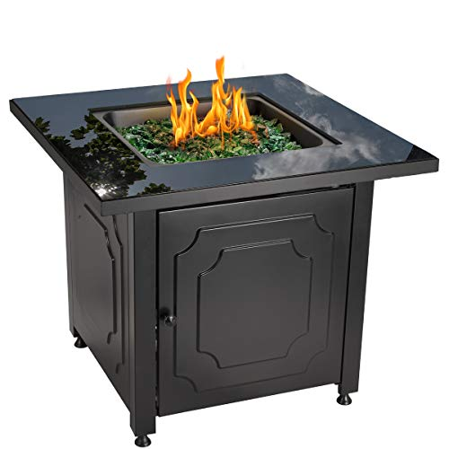 Blue Rhino Outdoor Propane Gas Fire Pit with Black Glass Top and Green Fire Glass - Add Warmth and Beauty to Your Backyard