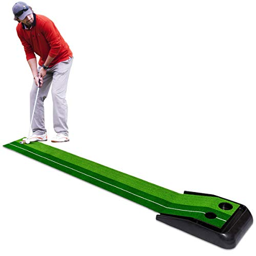Tangkula Golf Putting Mat 8 FT Indoor Outdoor Golf Practice Mat Green Grass Turf Ball Return Golf Training Equipment