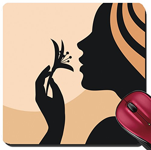 Liili Suqare Mousepad 8x8 Inch Mouse Pads/Mat IMAGE ID: 15594580 Young woman silhouette with flower in - Woman Hand Silhouette