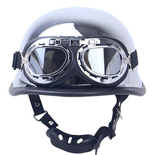 Summer Retro Half-Open Motorcycle Helmet, Electroplating Silver Craft Cruiser German Defence Force Helmet DOT Certified Jet Helmet and Pilot Goggles,L (German Cruiser)