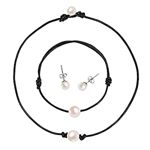 S. Wyatt Single Pearl Choker Necklace - 14 Inches Genuine Black Leather Cord Handmade Jewelry Set for Women, Necklace, Bracelet, Stud Earrings