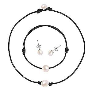 S. Wyatt Single Pearl Choker Necklace - Genuine Leather Cord Handmade Jewelry Set for Women, Necklace, Bracelet, Stud Earrings