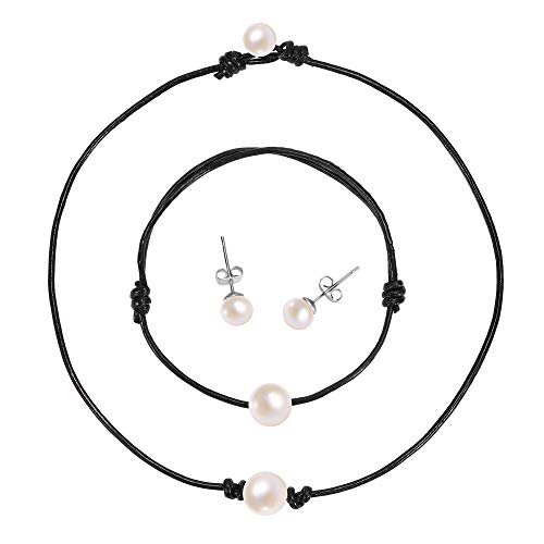 Single Pearl Choker Necklace - Genuine Leather Cord Handmade Jewelry Set for Women, Necklace, Bracelet, Stud Earrings