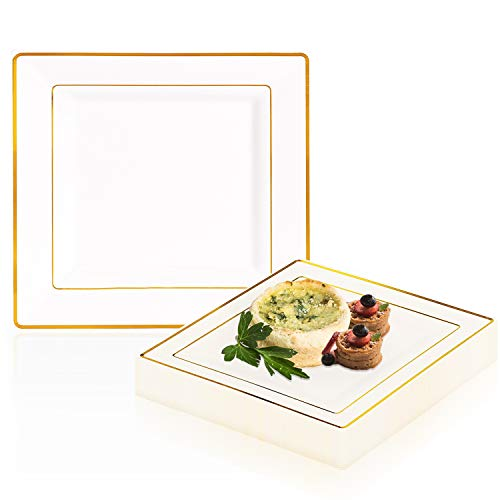 (Elegant Disposable Plastic Dessert Plate Set - 120 Heavy Duty Fancy Square Salad Plates - Reusable White with Gold Rim Cake Party Plate For Wedding, Christmas, Thanksgiving, Birthday & Other Occasions)