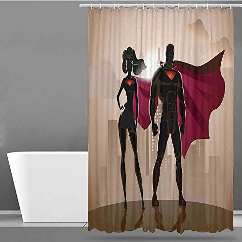 VIVIDX Polyester Fabric Shower Curtain,Superhero,Super Woman and Man