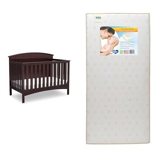 Delta Children Archer 4-in-1 Crib, Dark Chocolate with Twinkle Stars Crib & Toddler Mattress ()