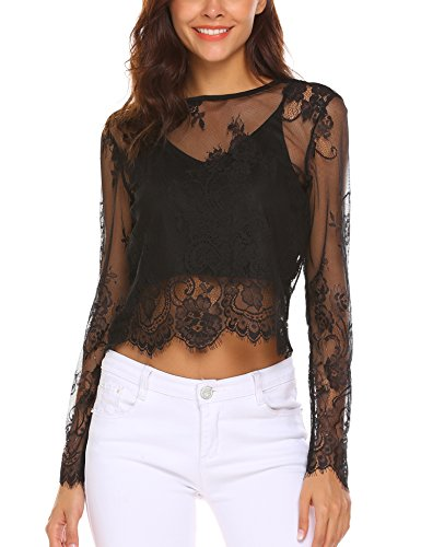 Long Elegant Sleeves Black (HAPLICA Women's Long Sleeve Sexy Sheer Floral Lace Crop Top Shirt with Cami)