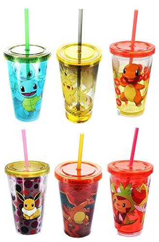 Pokemon Carnival Cups Set of 6: Pikachu, Evee,
