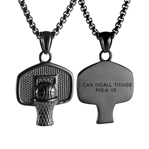 HZMAN Basketball Backboard Basketball Rim Stainless Steel Pendant I CAN DO All Things Strength Bible Verse (Best Backboard And Rim)
