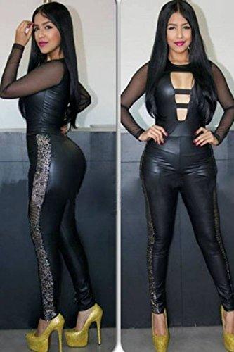 New Mesdames Noir effet mouillé et léopard en maille Combinaison Club Wear Déguisement Taille M UK 10–12–EU 38–40