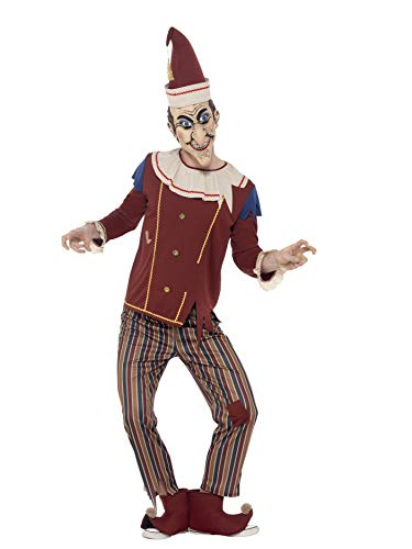 Smiffys Men's Possessed Punch Costume, Top, pants, Hat, Boot Covers and Latex Mask, Cirque Sinister, Halloween, Size M, 45576 ()
