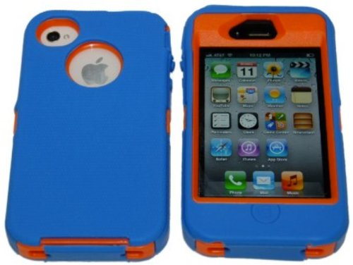 Iphone 4 4S Body Armor Defender - Comparable to Otterbox Defender + 1pc 3ft Data Cable (Blue on Orange)
